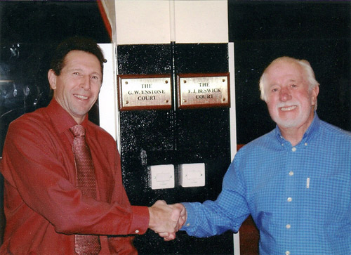 Wayne Enstone and Fred Beswick at the unveiling of their plaques by the Rugby Fives Court at the Y Club